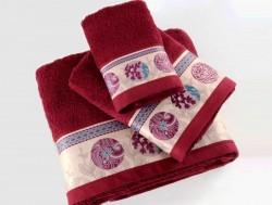 полотенце с печатью ethnic bordo (бордовый)