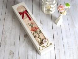 shalla emilla somon (светло-розовый) полотенце с вышивкой