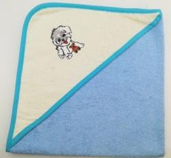 уголок дет. махровый с вышивкой собачка (голубая)