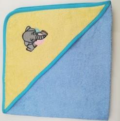 уголок дет. махровый с вышивкой слоненок (желто-голубой)